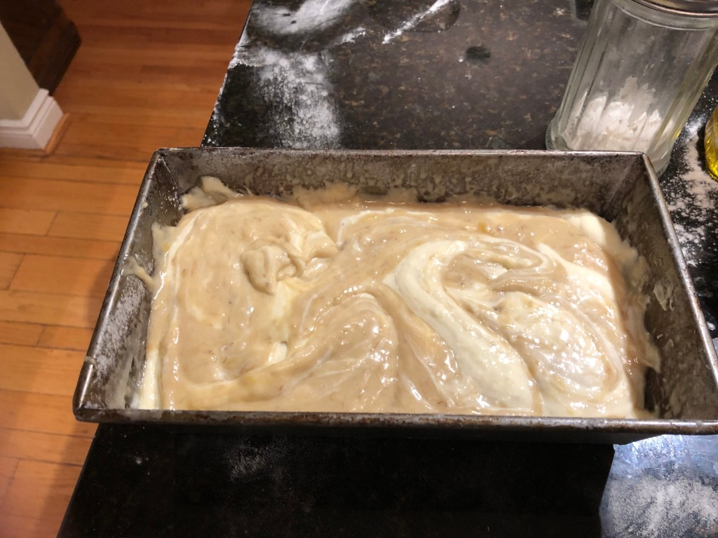 Insert the tip of a paring knife into the batter and drag it through and up to swirl 5 to 6 times