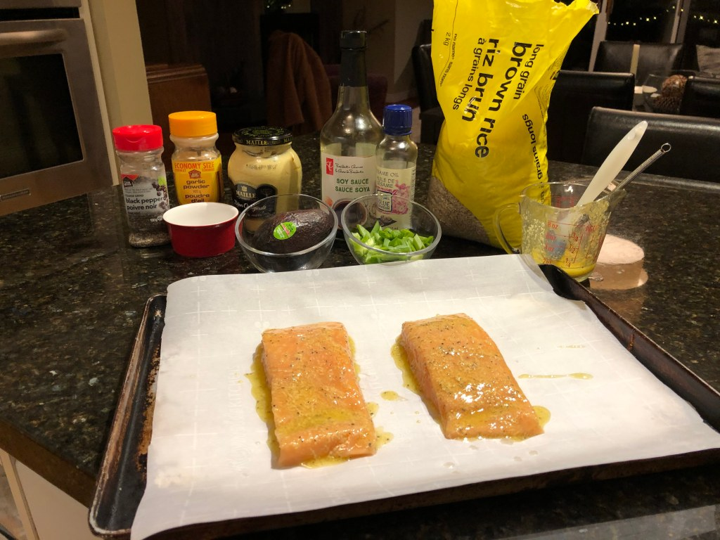 Once you've prepared the Dijon  sauce all that's needed is to pop the salmon into a preheated oven