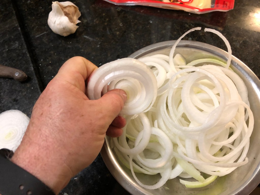 Onion rings are usually a prelude to caramelizing