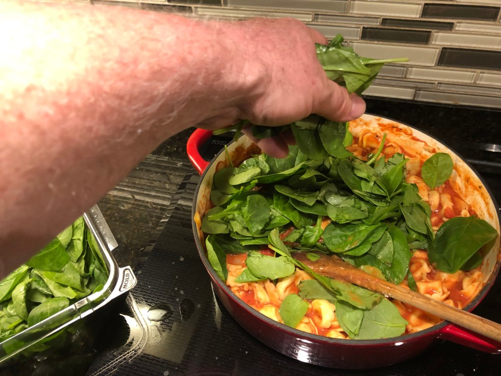 Add spinach and let wilt. Season with salt and pepper.