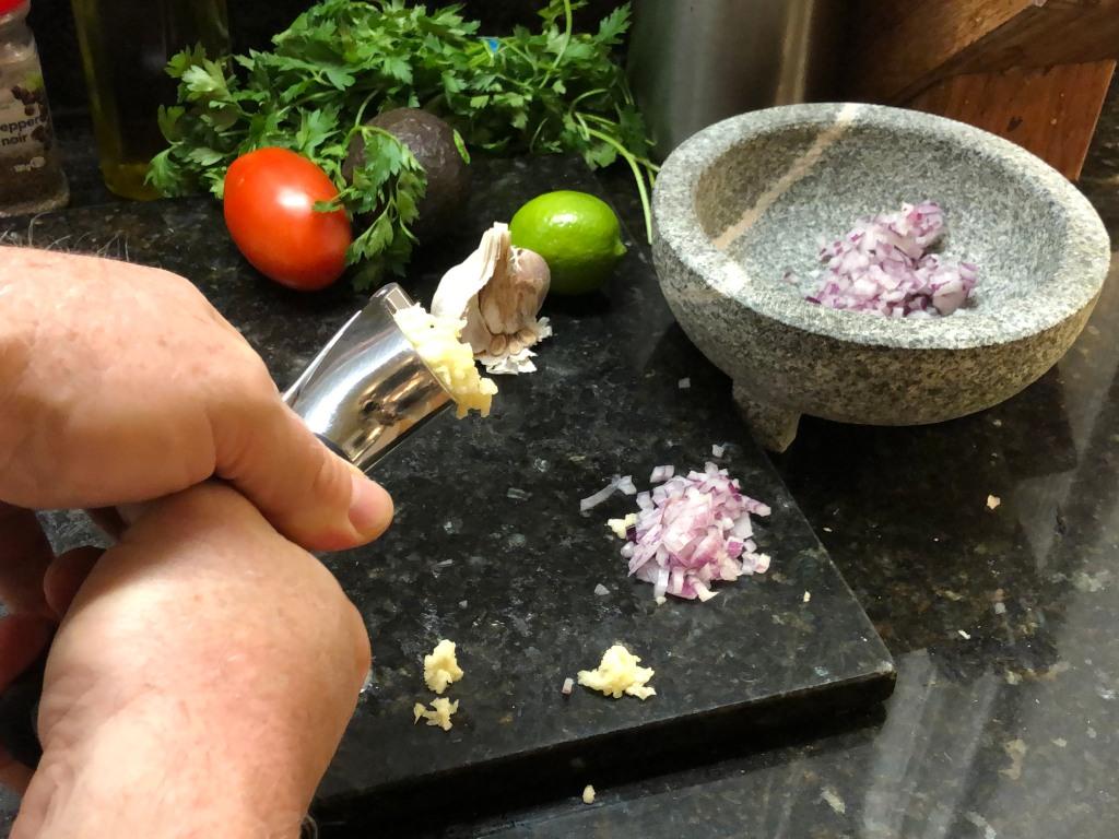mince a large garlic clove