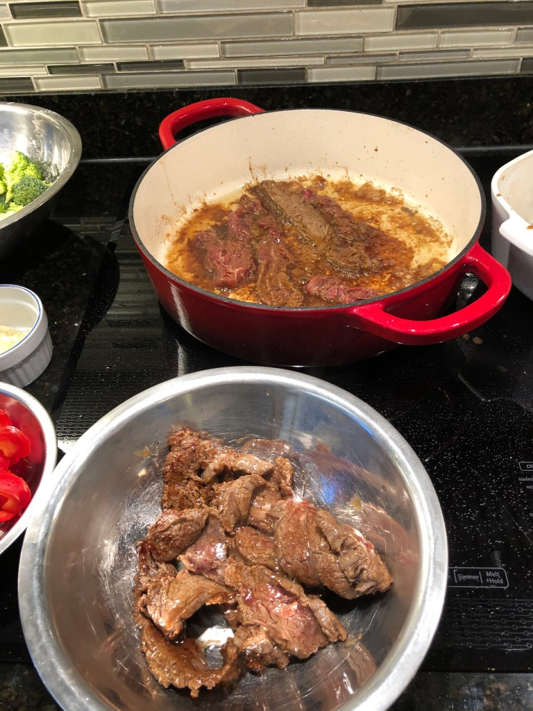 Add a tablespoon of oil (and a teaspoon of water) to a skillet at medium high heat and brown the meat flat in the pan in batches if necessary