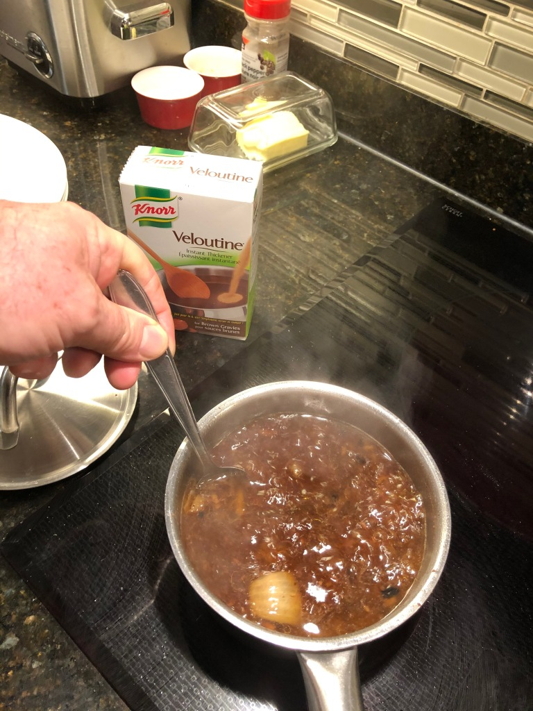 I sometimes augment the drippings with a quarter cup of beef broth and use a little Veloutine or flour and salt and pepper to thicken the gravy