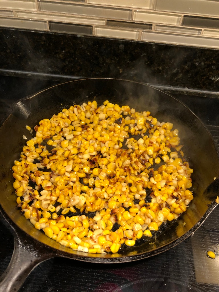 Toss corn and let cook for an additional 2-3 minutes (without stirring)