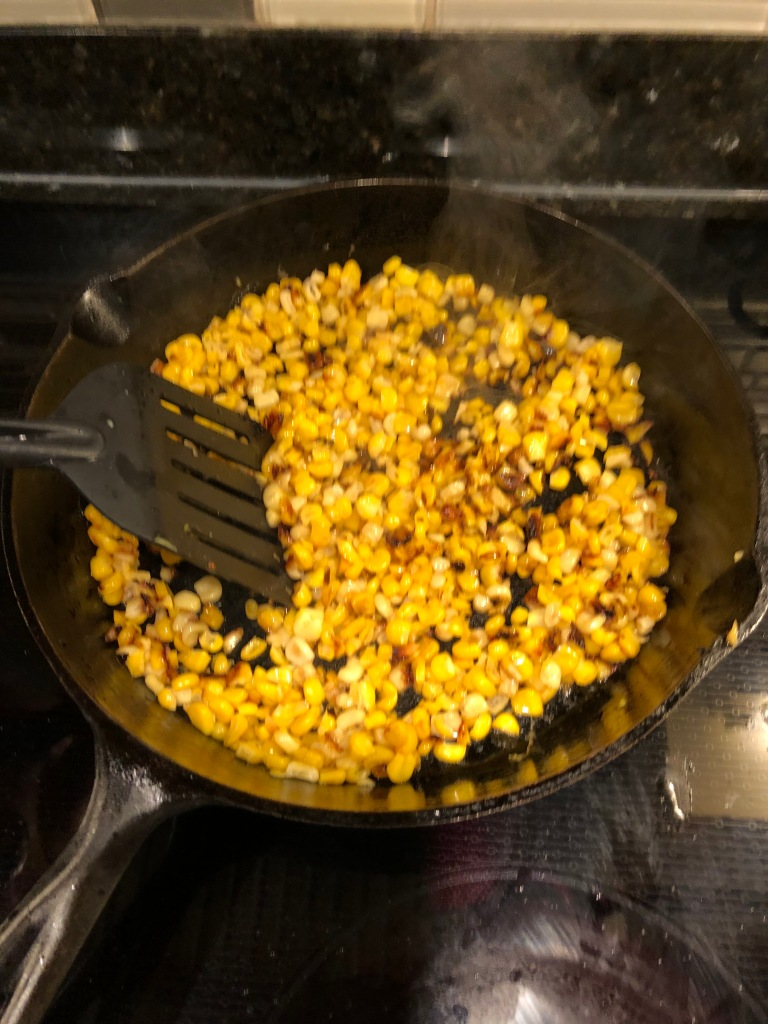 Give the corn one final toss and repeat cooking for additional 2-3 minutes until corn is charred on all sides