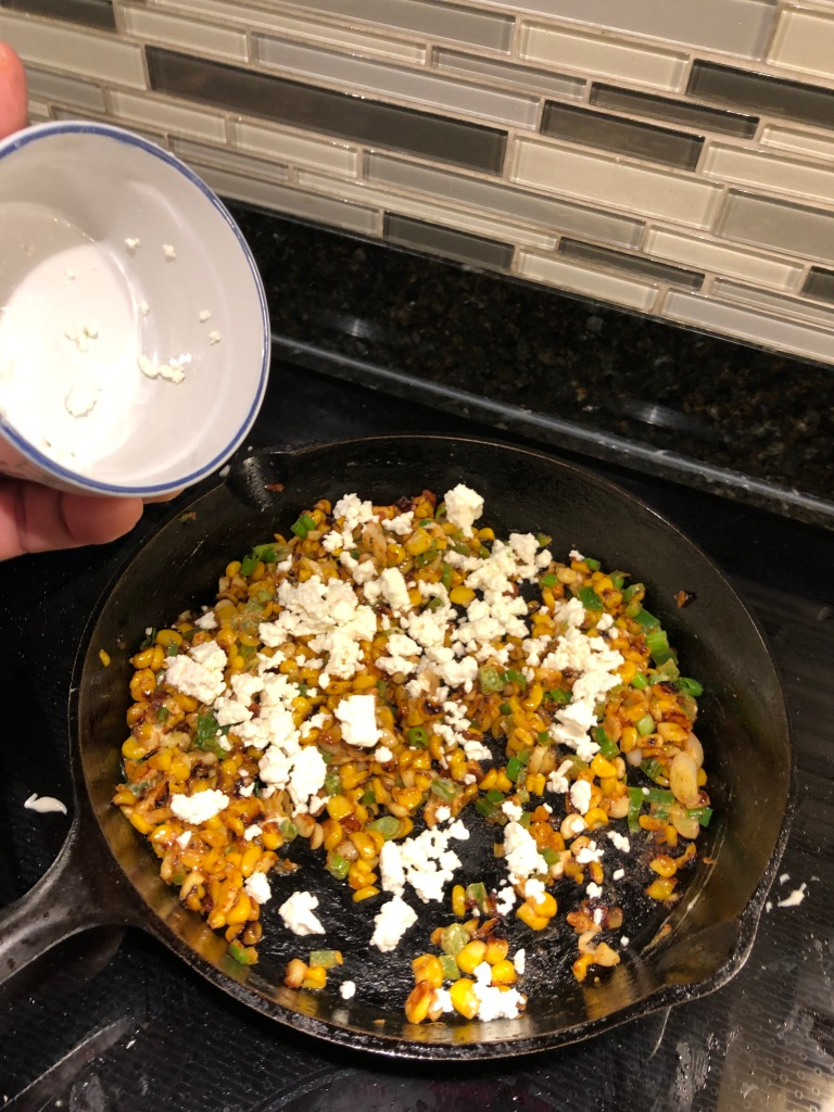 The recipe calls for fresh cojita cheese which is not readily available in my area... feta or queso fresco works just as well