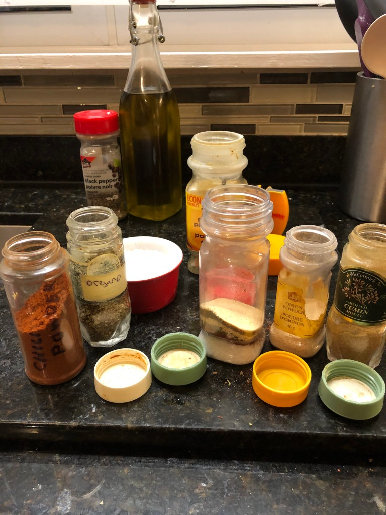 It's a great idea to have the Tex Mex Chicken Rub prepared in advance. I keep it in an empty pepper container
