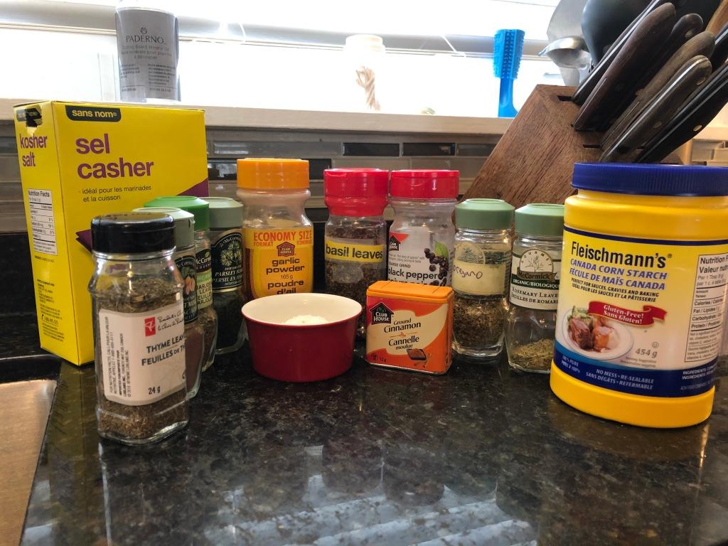 The Greek seasoning blend has salt, pepper, garlic powder, basil, oregano, parsley, rosemary, dill weed,  marjoram, thyme, nutmeg, cinnamon, and cornstarch...