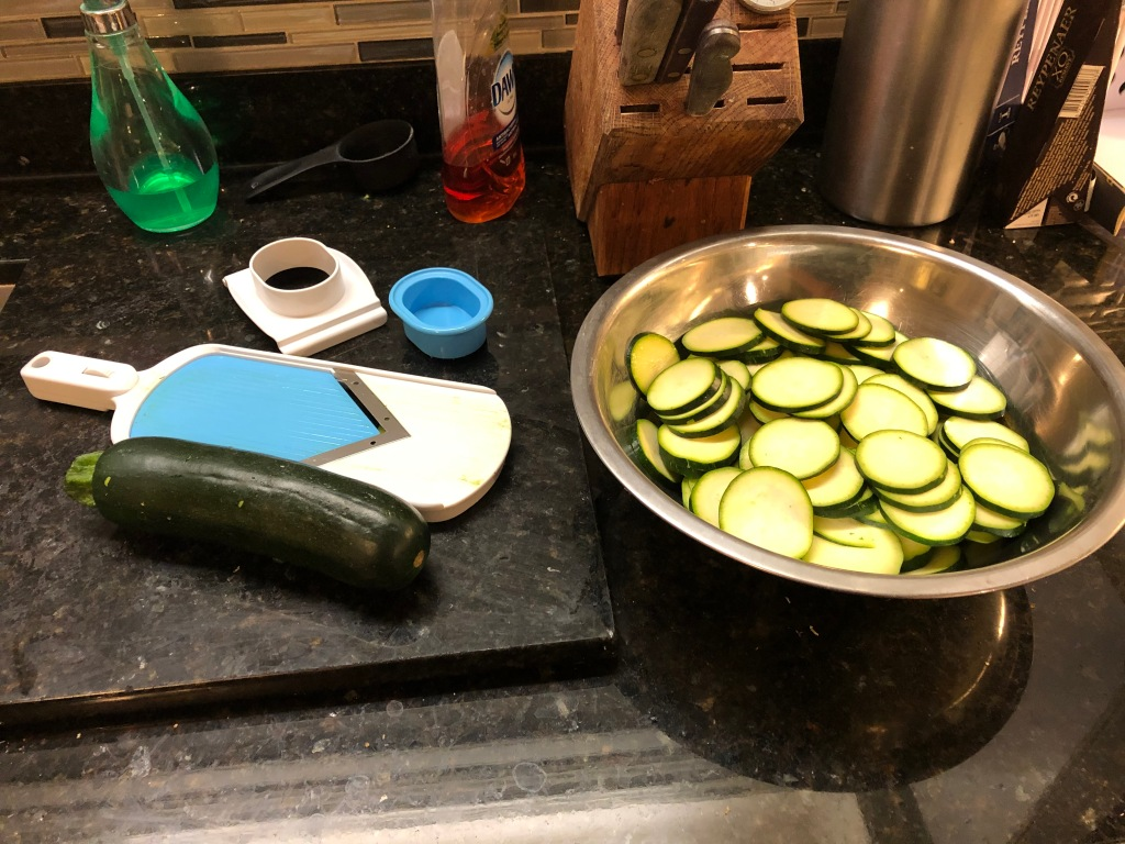 "As a first step, slice zucchini into 1/4"" coins..."