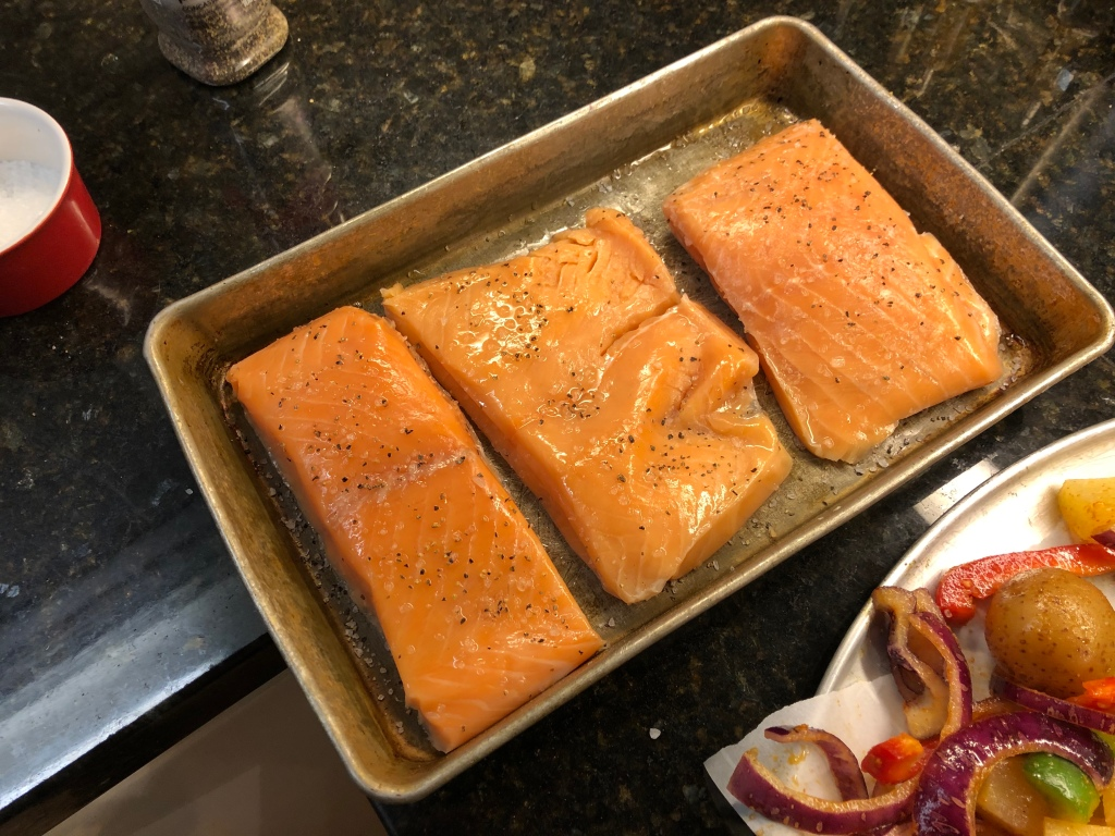 Brush honey spice mixture onto salmon fillets
