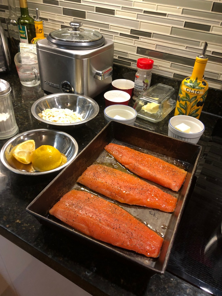 Trout, flour, olive oil, butter, almonds and lemon juice... add em up and it tastes fantastic