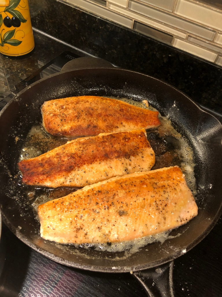Cook both sides until light brown and fish 'fork flakes' easily