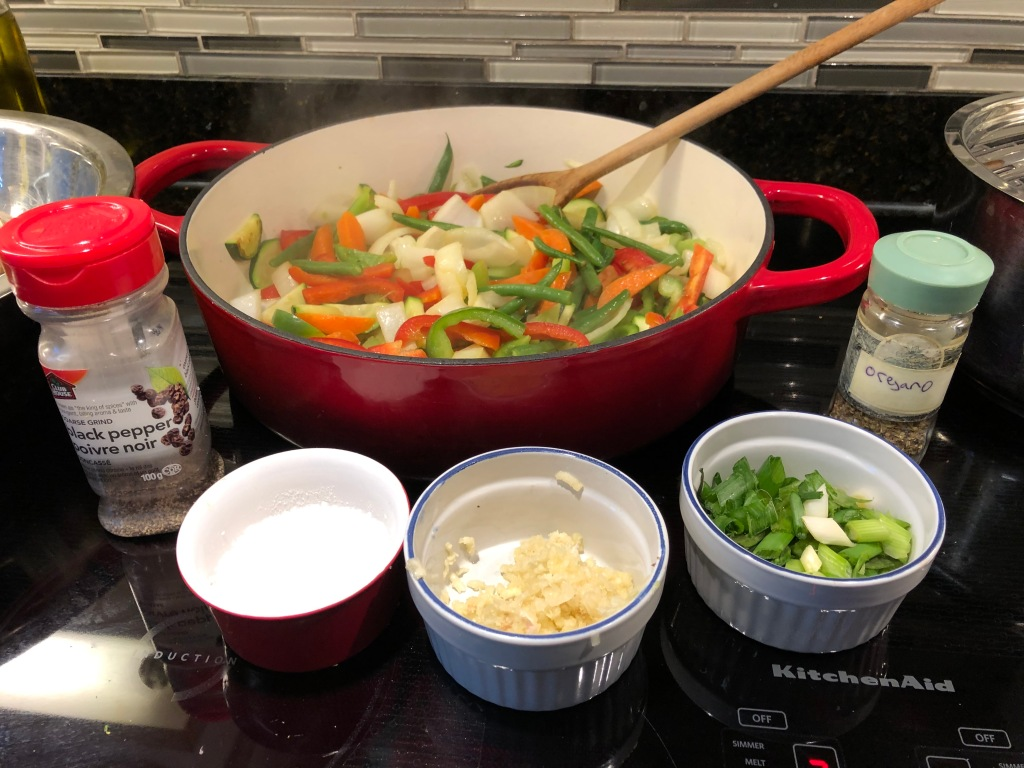 While pasta cooks stir fry veggies in vegetable oil (olive oil preferred) med hi heat: 8ish mins