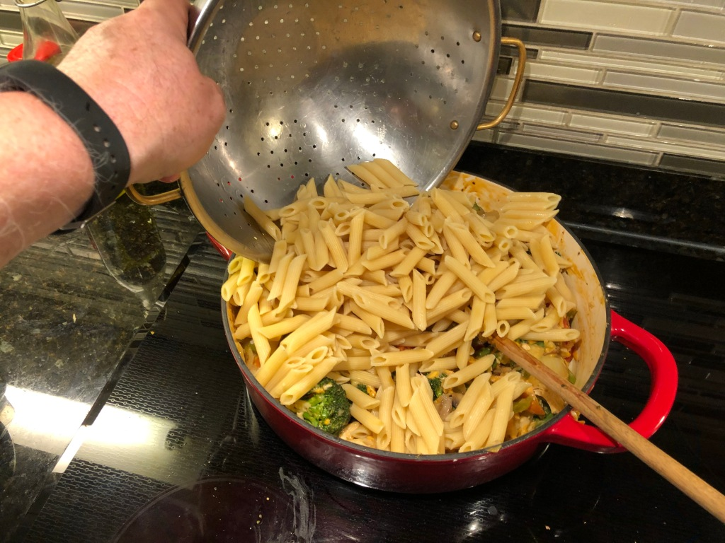 ...finish by stirring in partially cooked pasta...