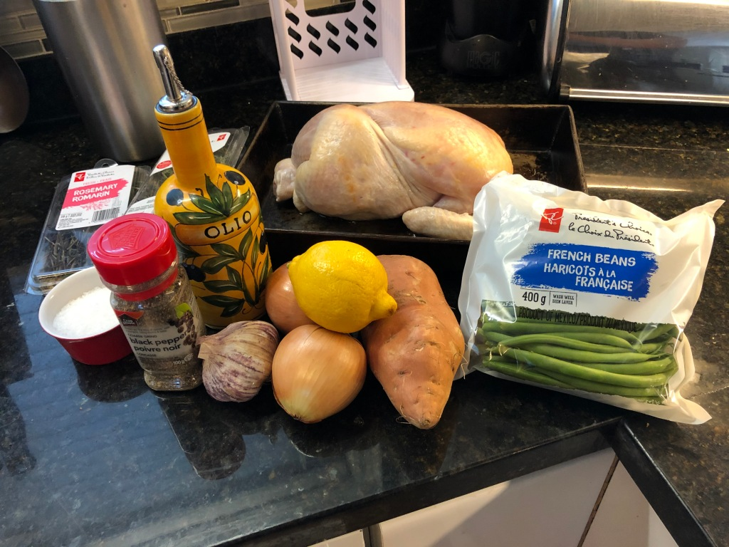 Ingredients: Whole Chicken, onions, sweet potatoes, green beans, fresh herbs, lemon, olive oil and salt and pepper