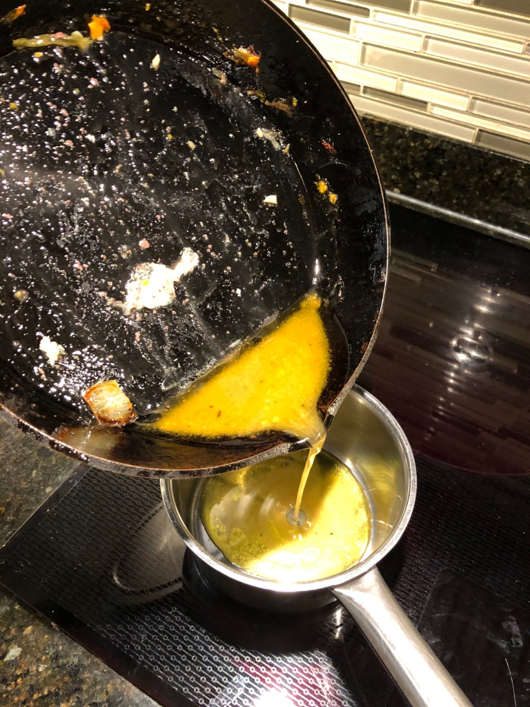 Skim off the fat and pour the remaining juice into a small sauce pan at medium heat