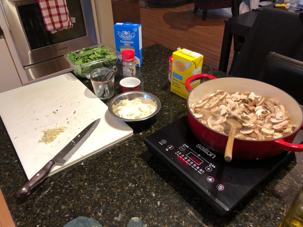 Measure put all the ingredients beforehand then heat oil and brown the mushrooms