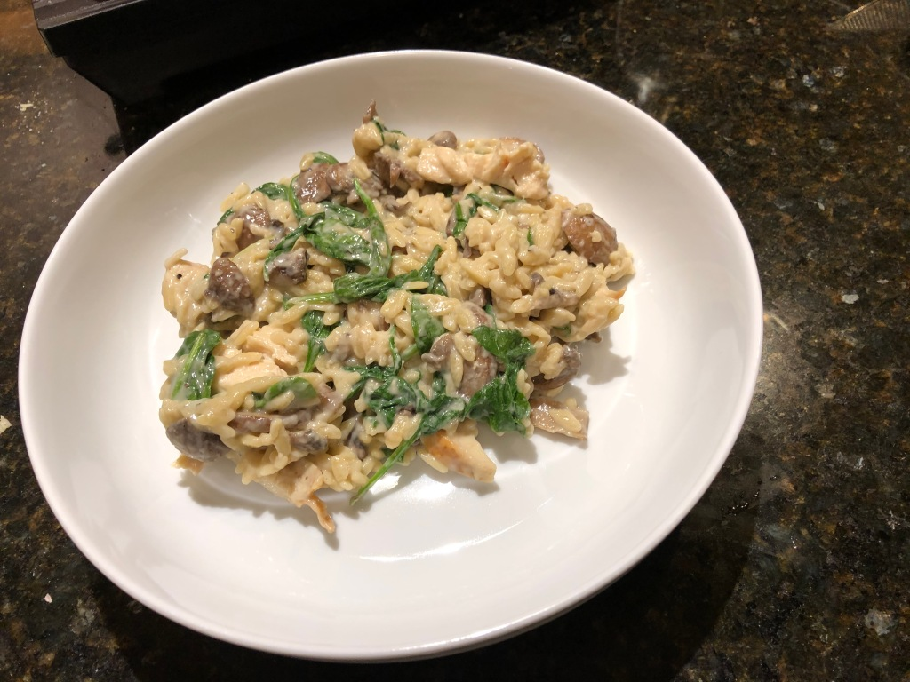 Topped with a creamy Parmesan sauce, Spinach Mushroom Orzo a very satisfying meal