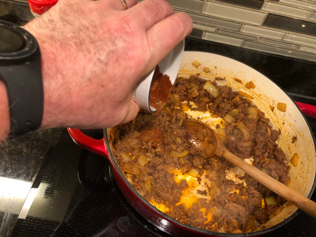 Stir in the spices next