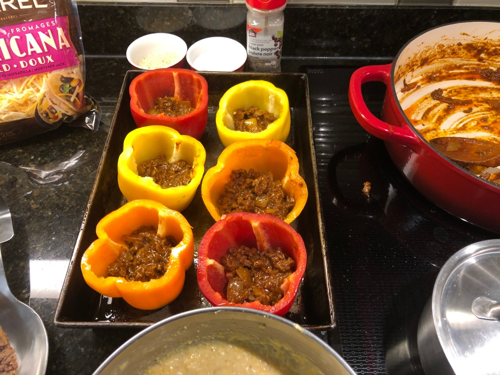 Start with a layer of beef mixture