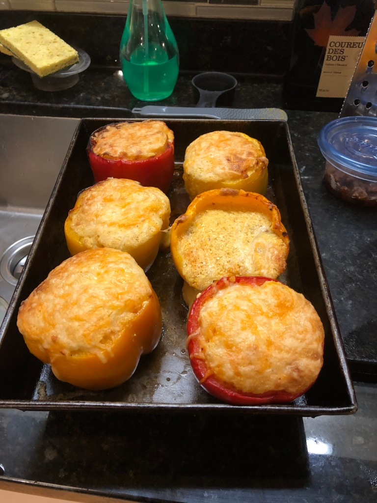 Uncover the peppers and finish in the oven for a little longer to brown the cheese