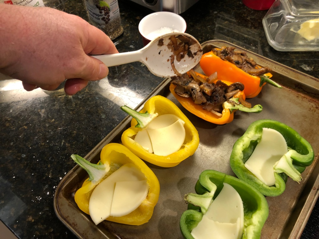 Add a healthy spoonful to each pepper...