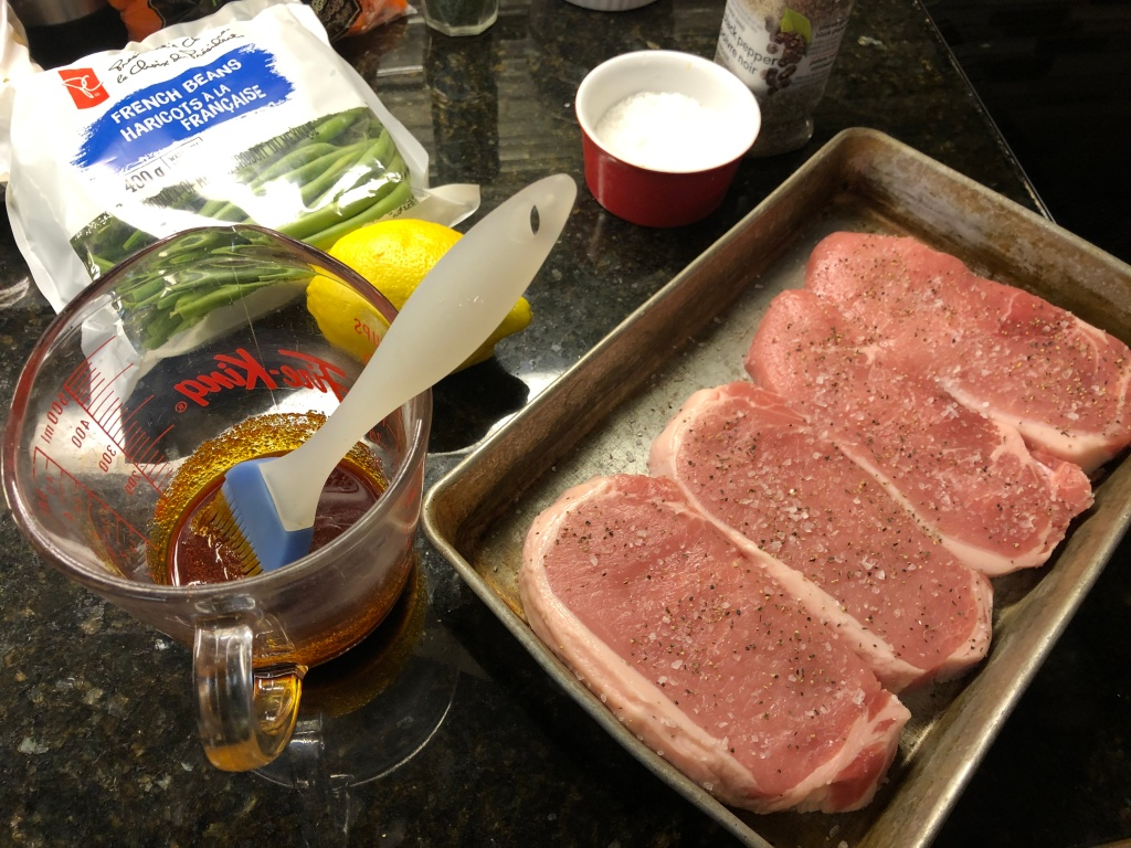 Start by seasoning chops with kosher salt and pepper