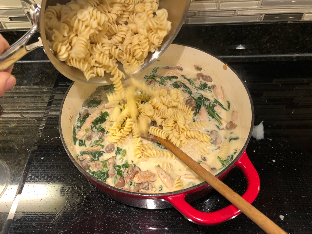 Once the sauce has thickened somewhat add the pasta
