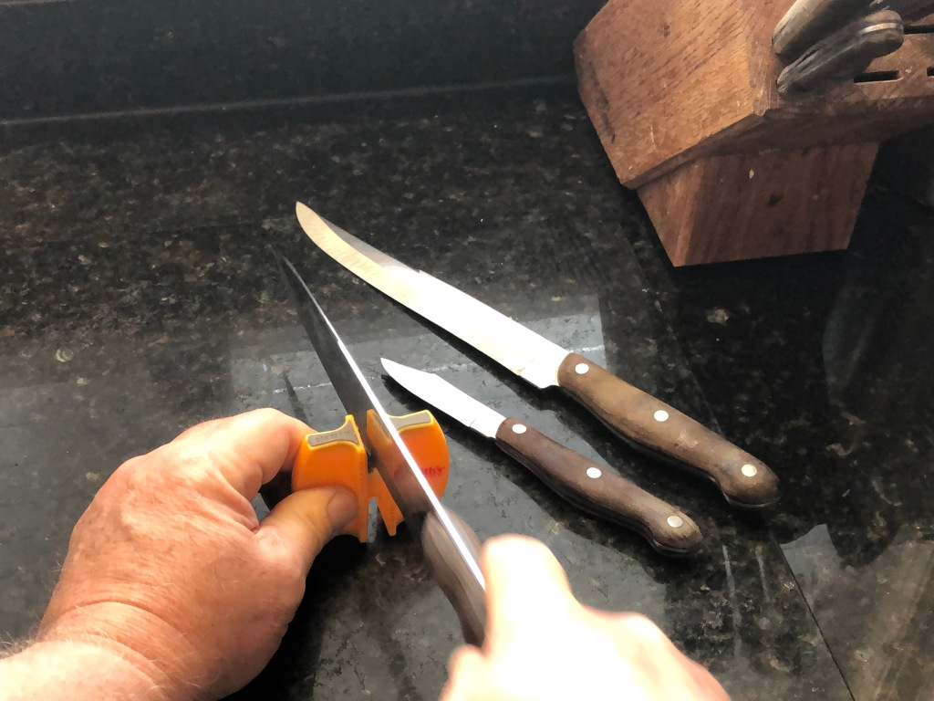 Quick and easy to use... just 3 or 4 strokes across the carbide blades is all it takes to set a quick edge