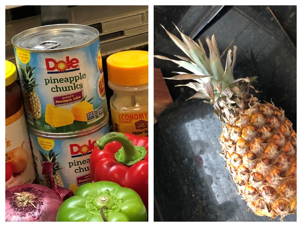 It's up to you... use two 8 oz cans of pineapple chunks, drained or dice a fresh pineapple