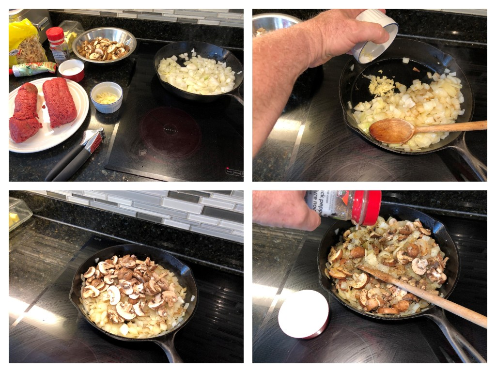 I like to lightly saute the onions and fresh mushrooms together with the garlic before adding to the slowcooker. It is NOT necessary