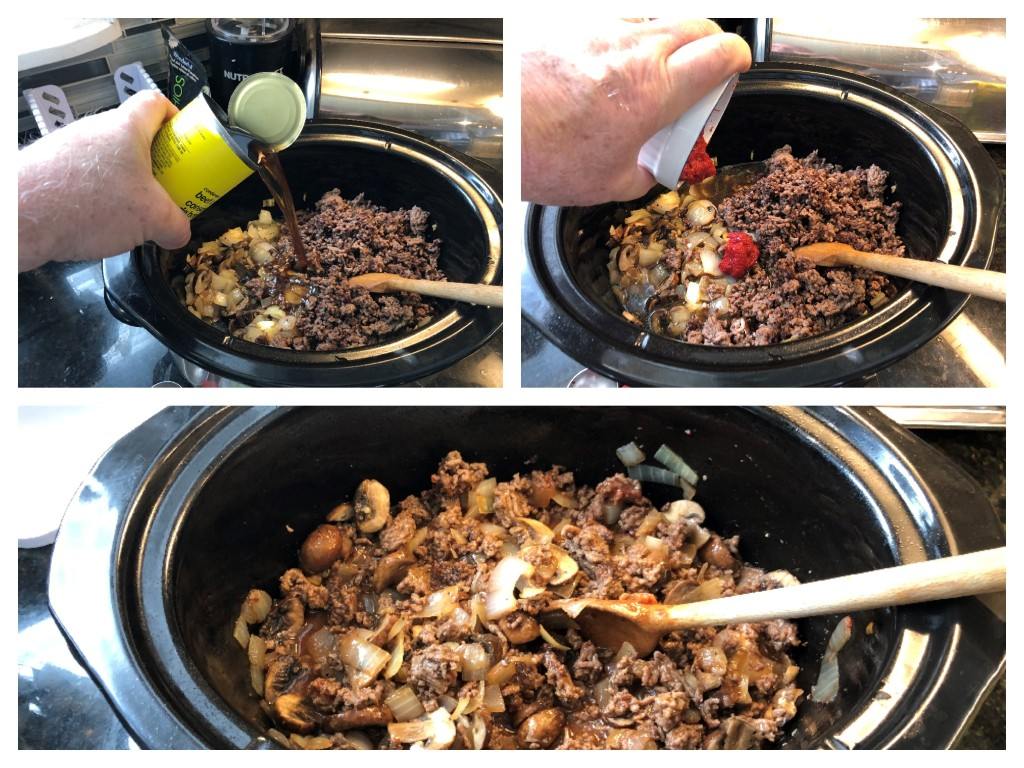 Once the ground beef has been added to the onions and mushrooms, add the consommé and the tomato paste.