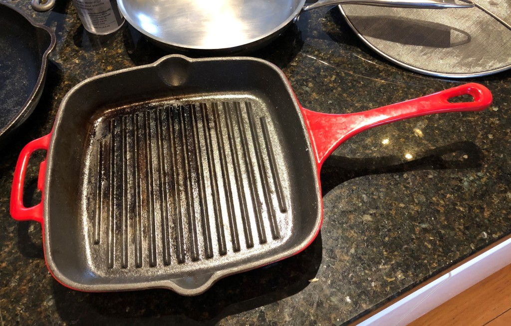If the seasoned finish of a cast iron pan is damaged it can be repaired. Not so a non-stick pan with a synthetic finish.