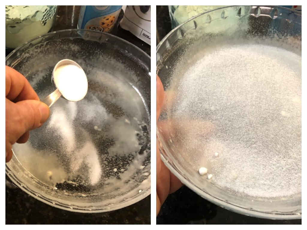 Sprinkle roughly 1 tablespoon of the superfine sugar evenly within the greased plate to coat.