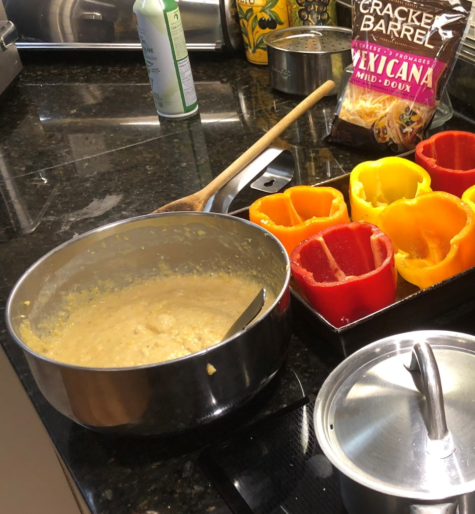 As a first step prepare the cornbread mix and set aside