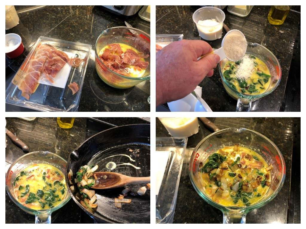 Add the ham, spinach/onion mixture, and Parmesan to the bowl and mix well.