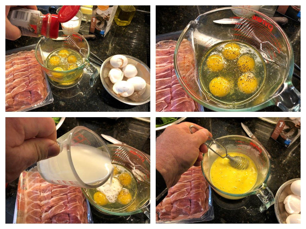Whisk together the eggs, cream, and salt and pepper in a medium sized bowl until well combined.