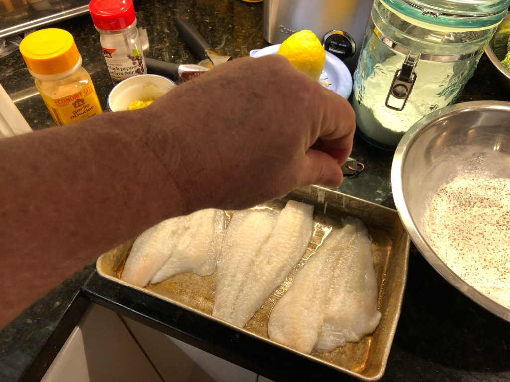 Pat the sole fillets dry with paper towels and sprinkle one side with salt