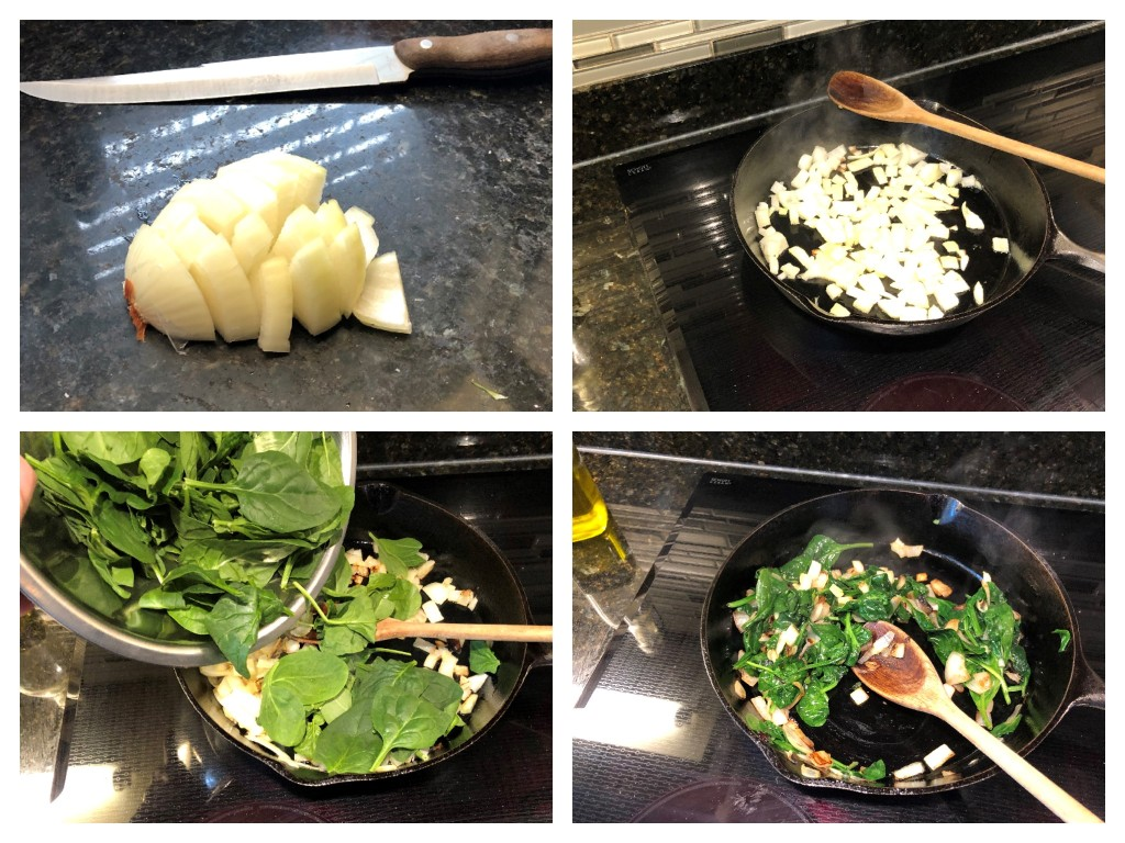 Dice the onion and add it to the skillet, stirring frequently until slightly browned. Add the spinach and stir until it begins to wilt.