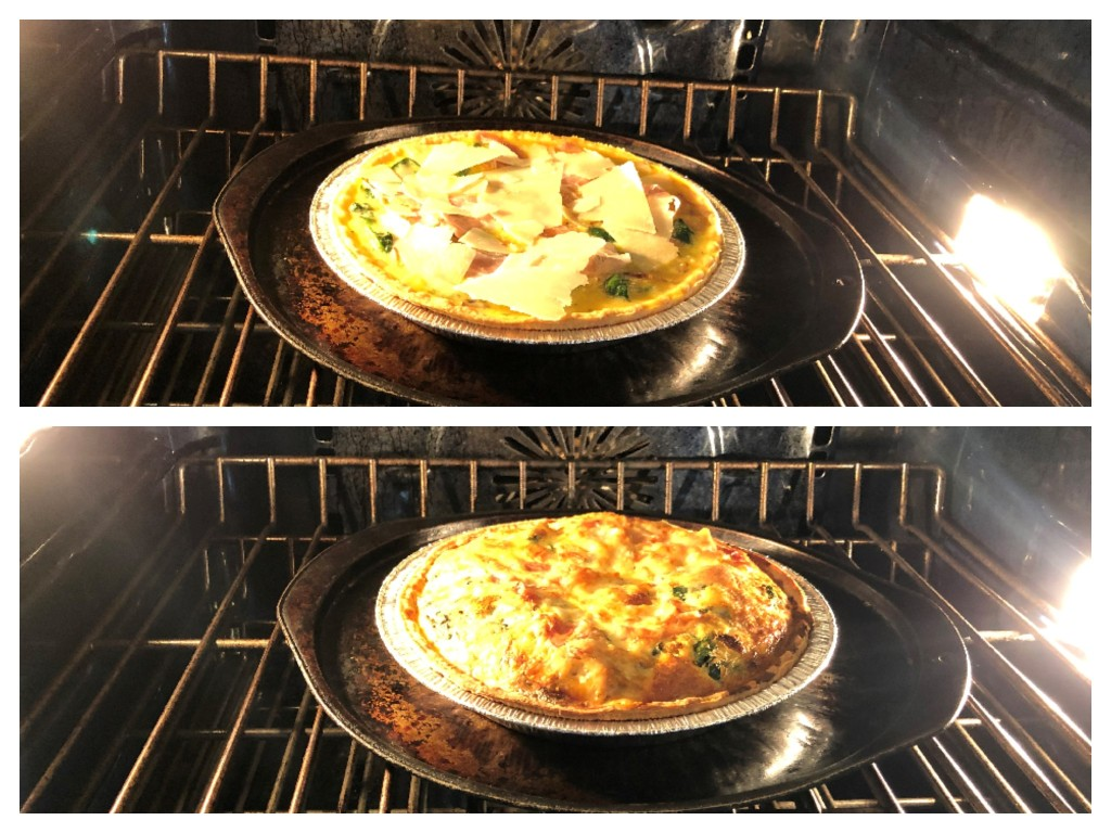 Bake the quiche in the oven for 40-45 minutes.