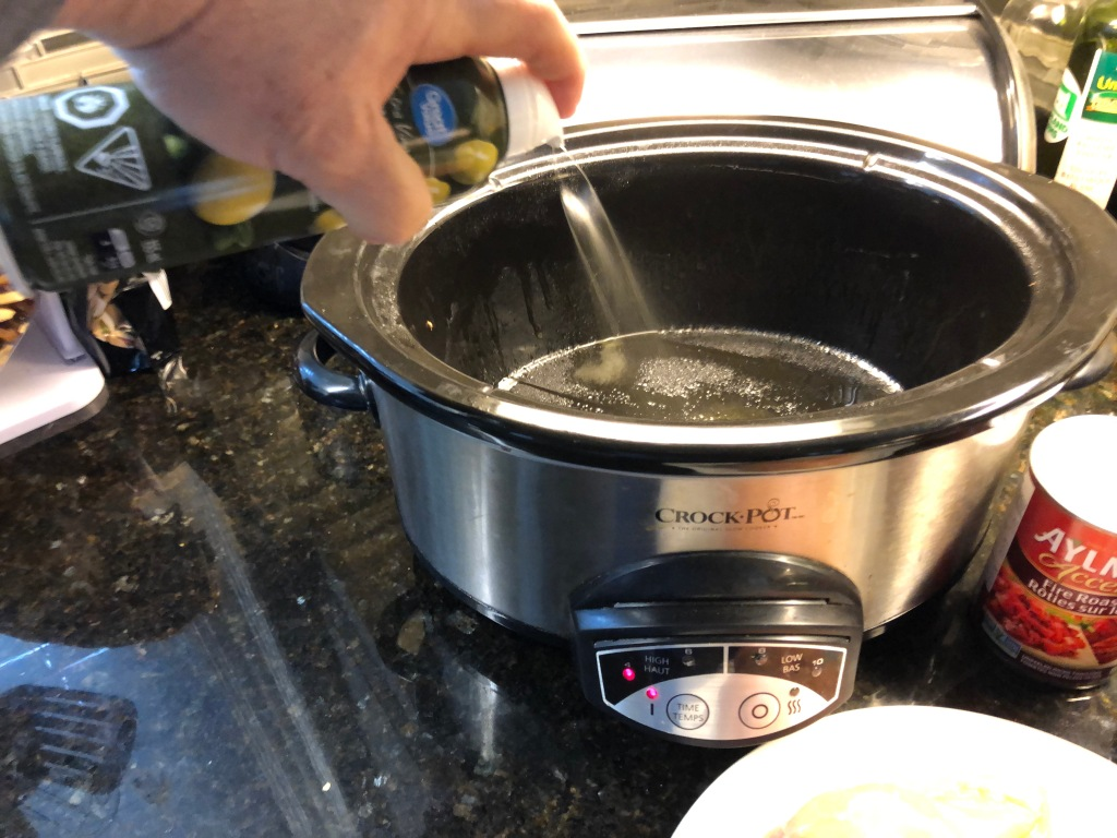 I like spray my slowcooker with a little olive oil before each use because it makes cleanup even easier.