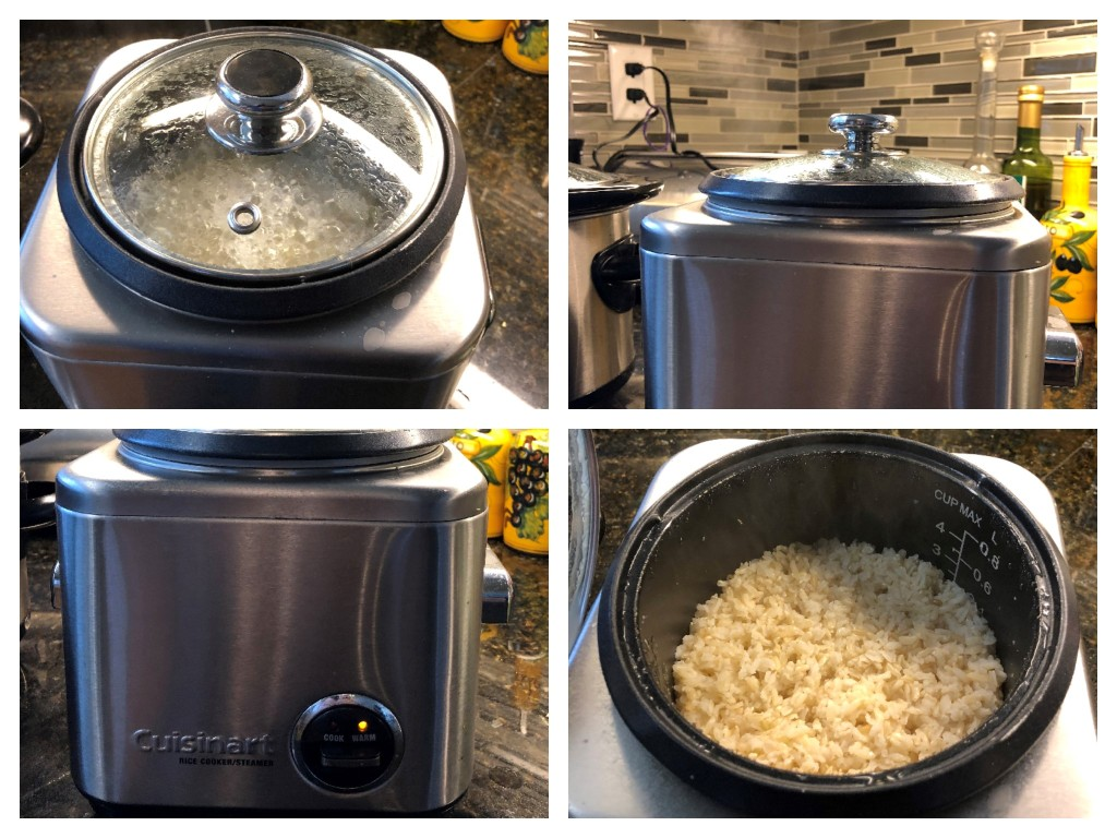 The unit's glass lid has a steam vent to allow steam to escape as the water boils and the rice cooks. When the rice is ready, the unit automatically switches to 'warm' mode.