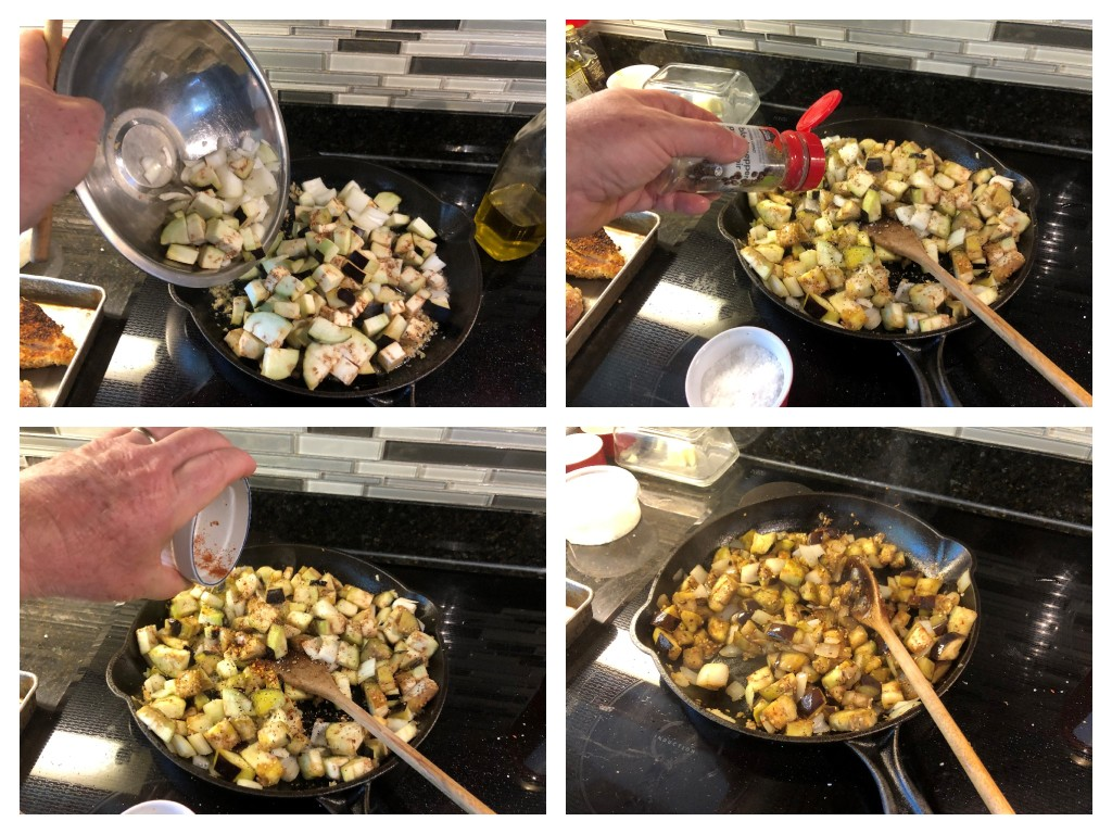 Gently sauté the eggplant and onions in the garlic and oil until the onions turn transparent and the eggplant softens