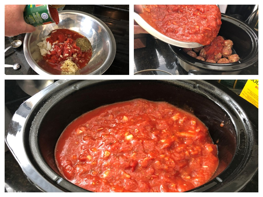 Pour the slowcooker sauce over the meatballs and cook on high for 3 hours. The meatballs will cook through and add flavour to the sauce.