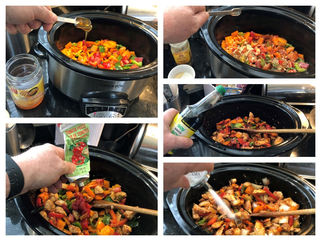 Add the bell peppers, celery and chicken to your preheated slowcooker then add the spices and thoroughly stir to mix well.