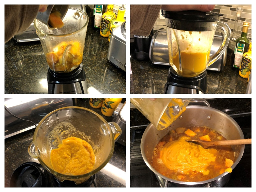Two cups of soup are quickly puréed then returned to the pot to thicken this easy to make Sweet Potato Chowder.