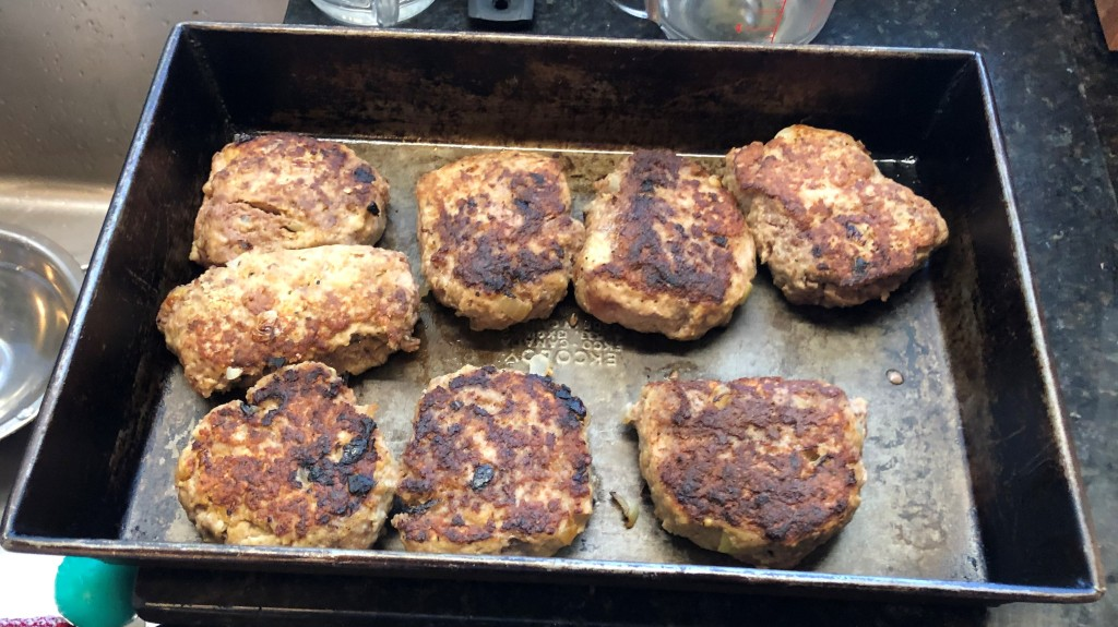 Brown both sides of patties, about 5 min on each side then, set aside on a dish.