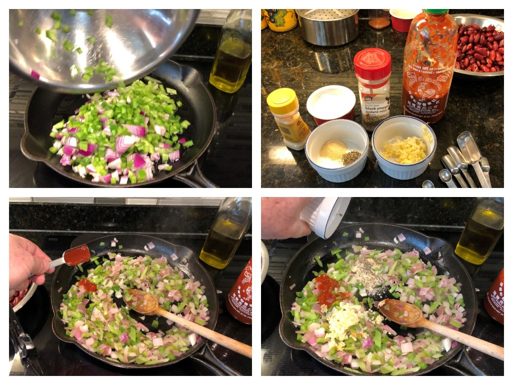 Saute the onion, celery, and bell pepper until tender then add the garlic and the rest of the seasonings.