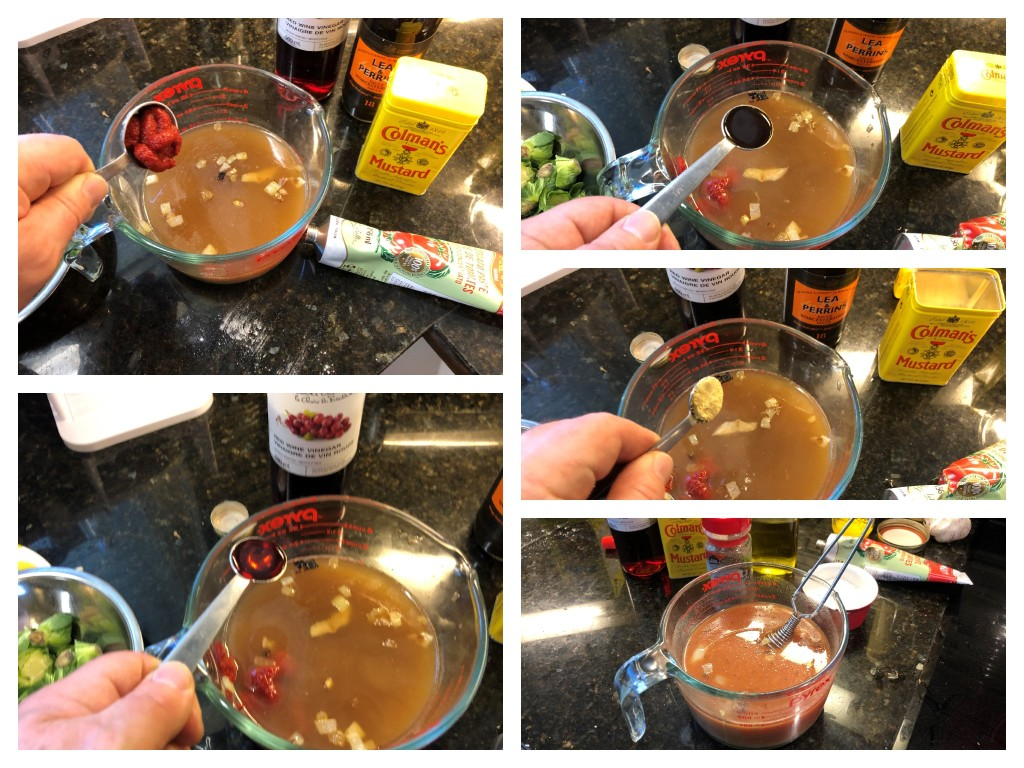 Add tomato paste, vinegar, water, Worcestershire sauce and mustard powder and mix with a small whisk